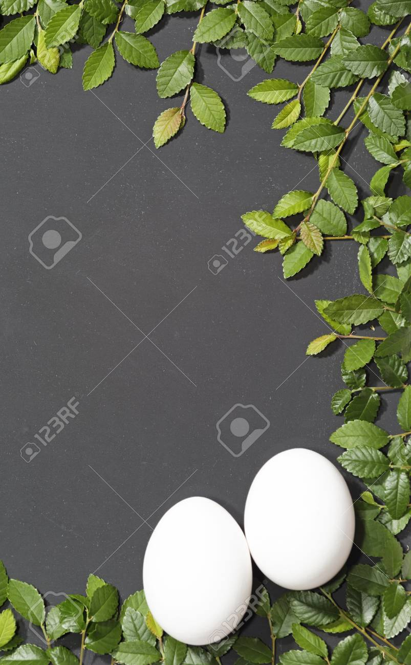 Slate slate optic framed with elm branches These eggs as a symbol of Easter Stock Photo - 18197777