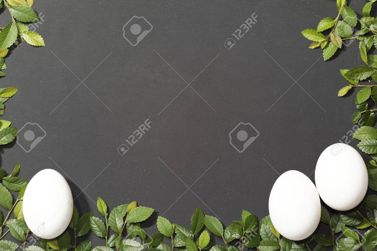 Slate slate optic framed with elm branches These eggs as a symbol of Easter Stock Photo - 18309872