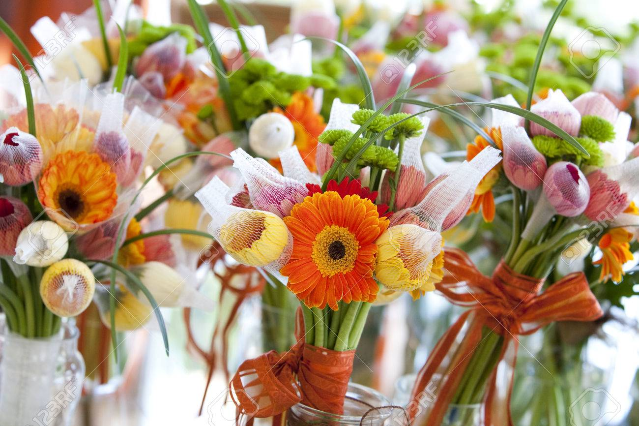 Gerbera, Tulips And Mix Of Summer Flowers Bouquet For The Wedding ...