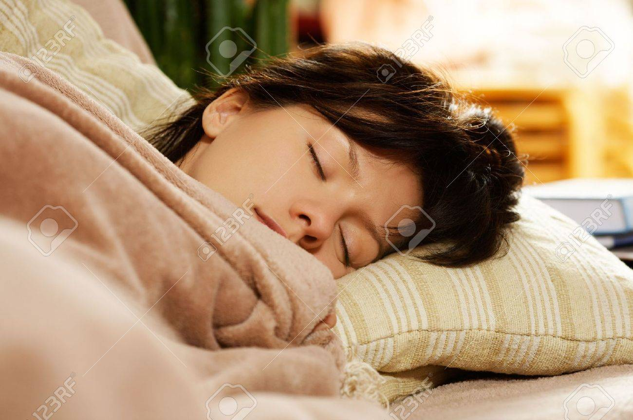 young pretty woman is sleeping at home Stock Photo - 3645248