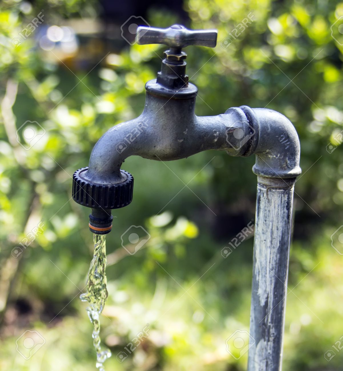 Old Garden Tap Leaking Water Stock Photo, Picture And Royalty Free ...