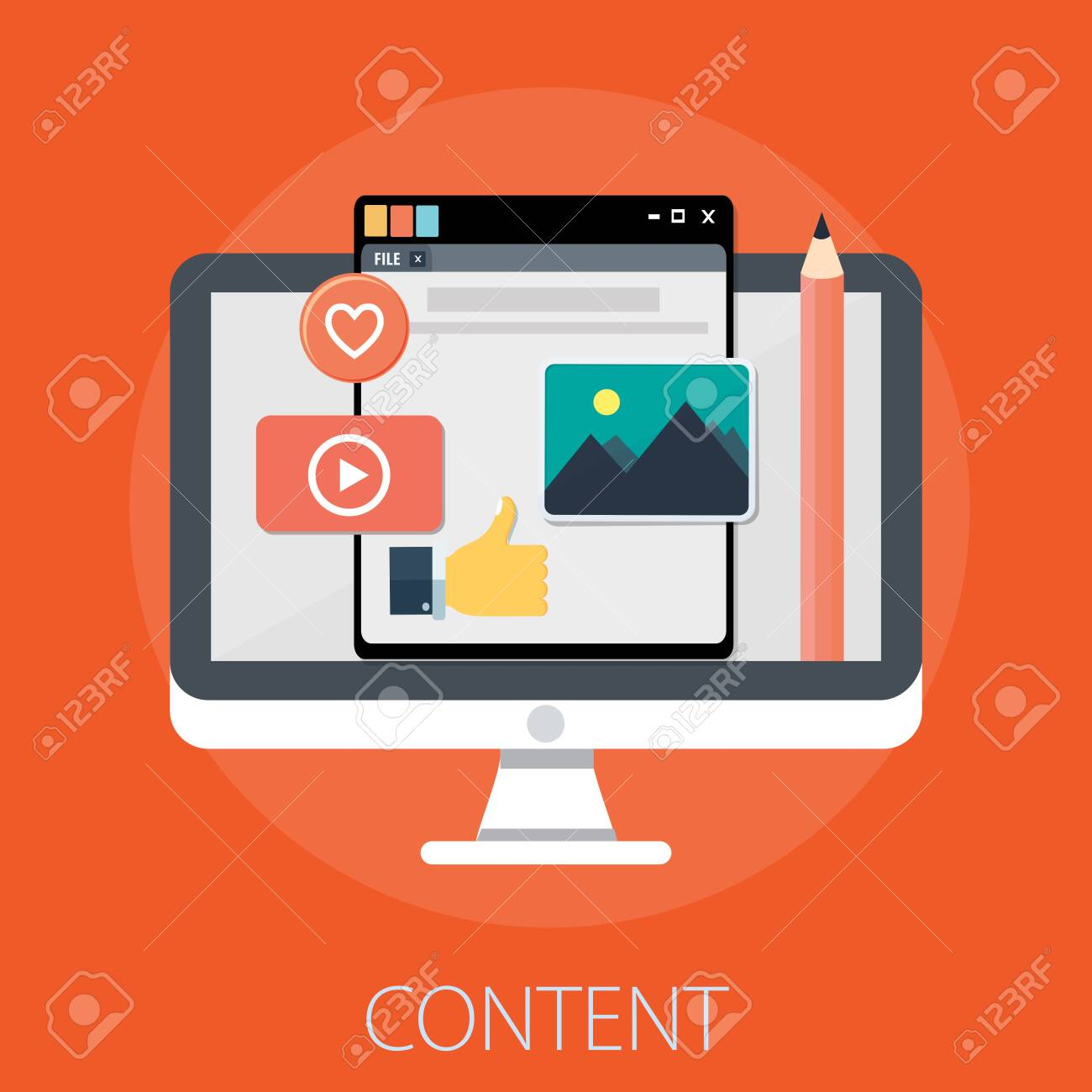 """Vector illustration of computer content management concept with """"content"""" computer contents icons. - 154729553"""