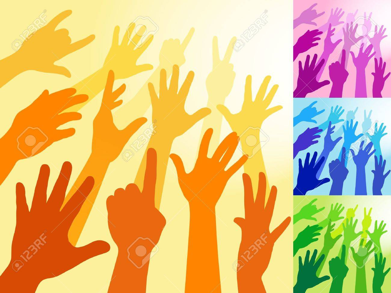 A collection of hands and raised arms shapes Stock Vector - 10519058