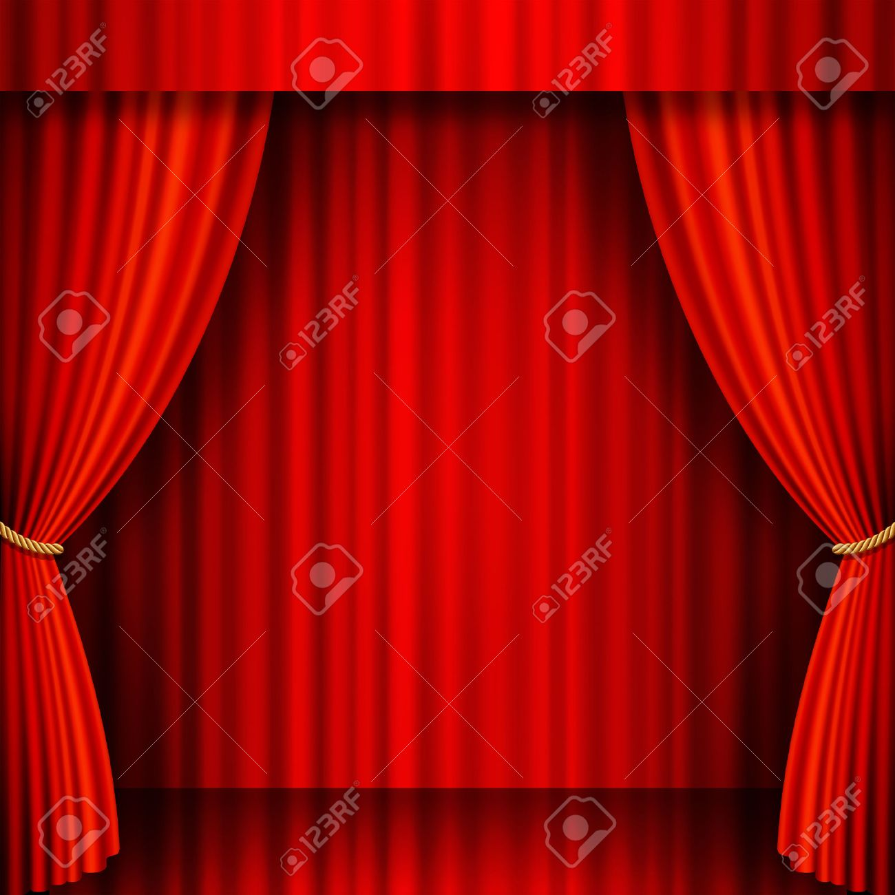 Red velvet curtains stage - Illustration Of A Theater Stage With Red Velvet Curtains Stock Vector 24539029