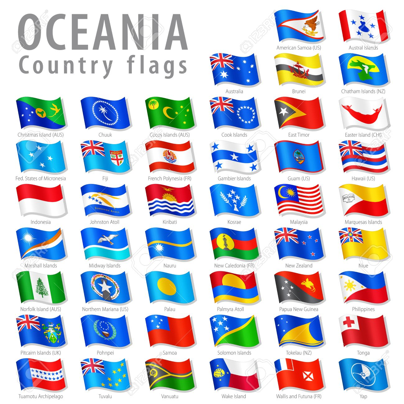 Vector Collection of all Oceanian National Flags, in simulated 3D waving position, with names and grey shadow. Every Flag is isolated on its own layer with proper naming. Stock Vector - 27574742