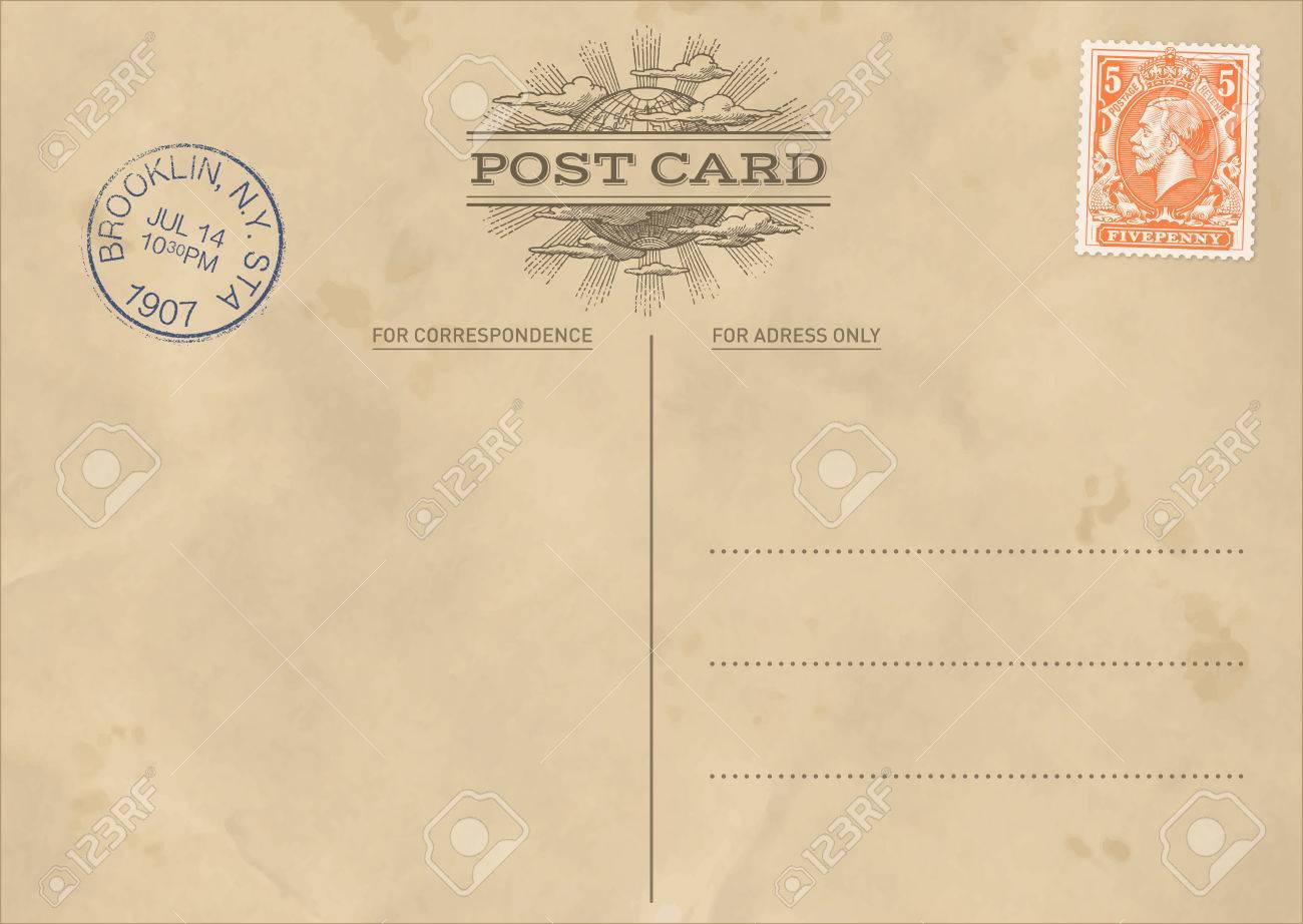 Hi Quality Vintage Postcard Template Royalty Free Cliparts Vectors