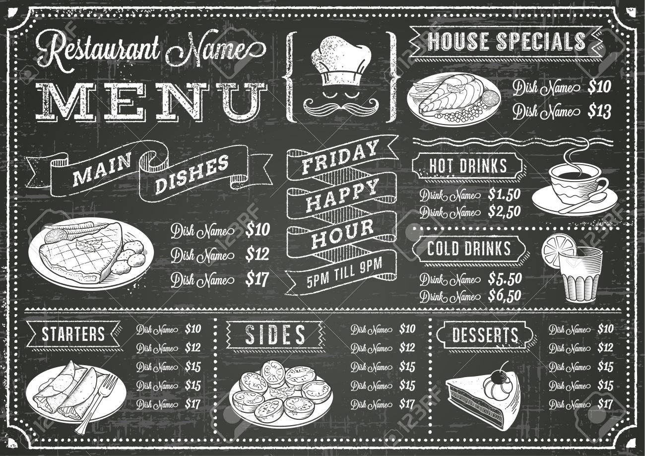 15 714 chalkboard menu stock vector illustration and royalty free