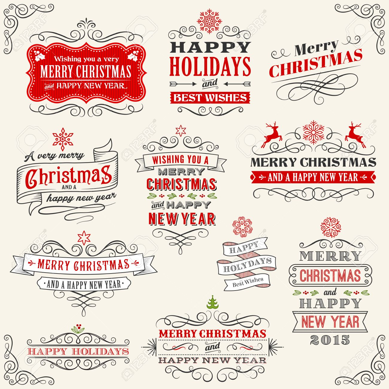 Merry Christmas Labels.Vector Christmas Labels With