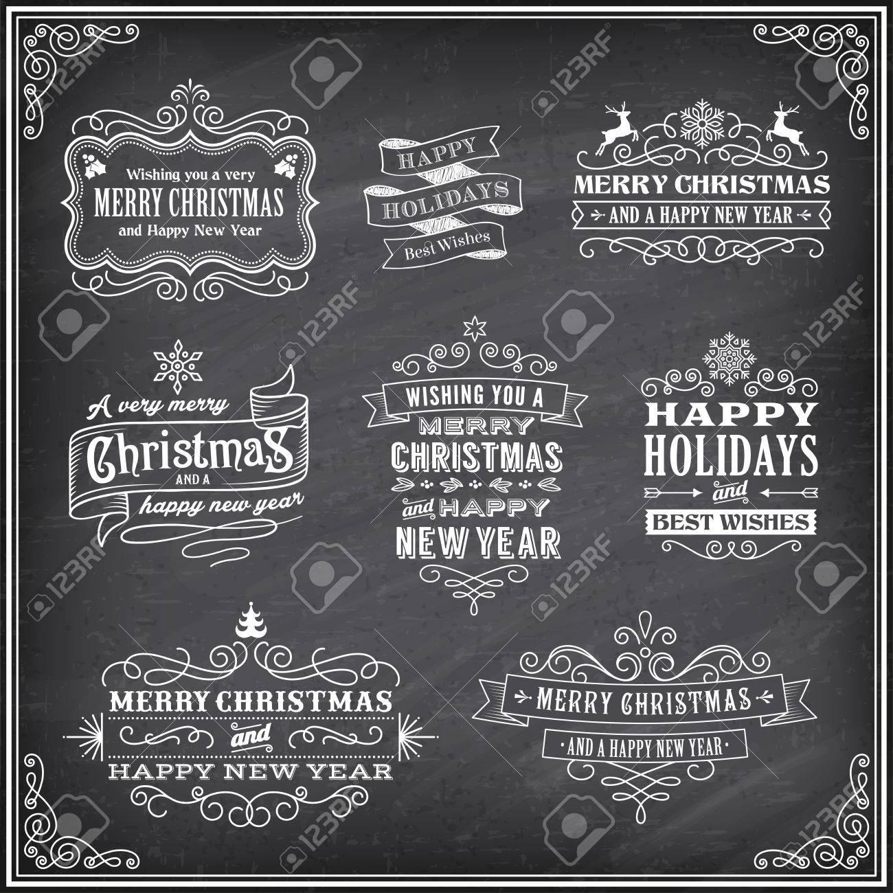 Vector Weihnachten-Etiketten Mit Kreide Gezeichnet \