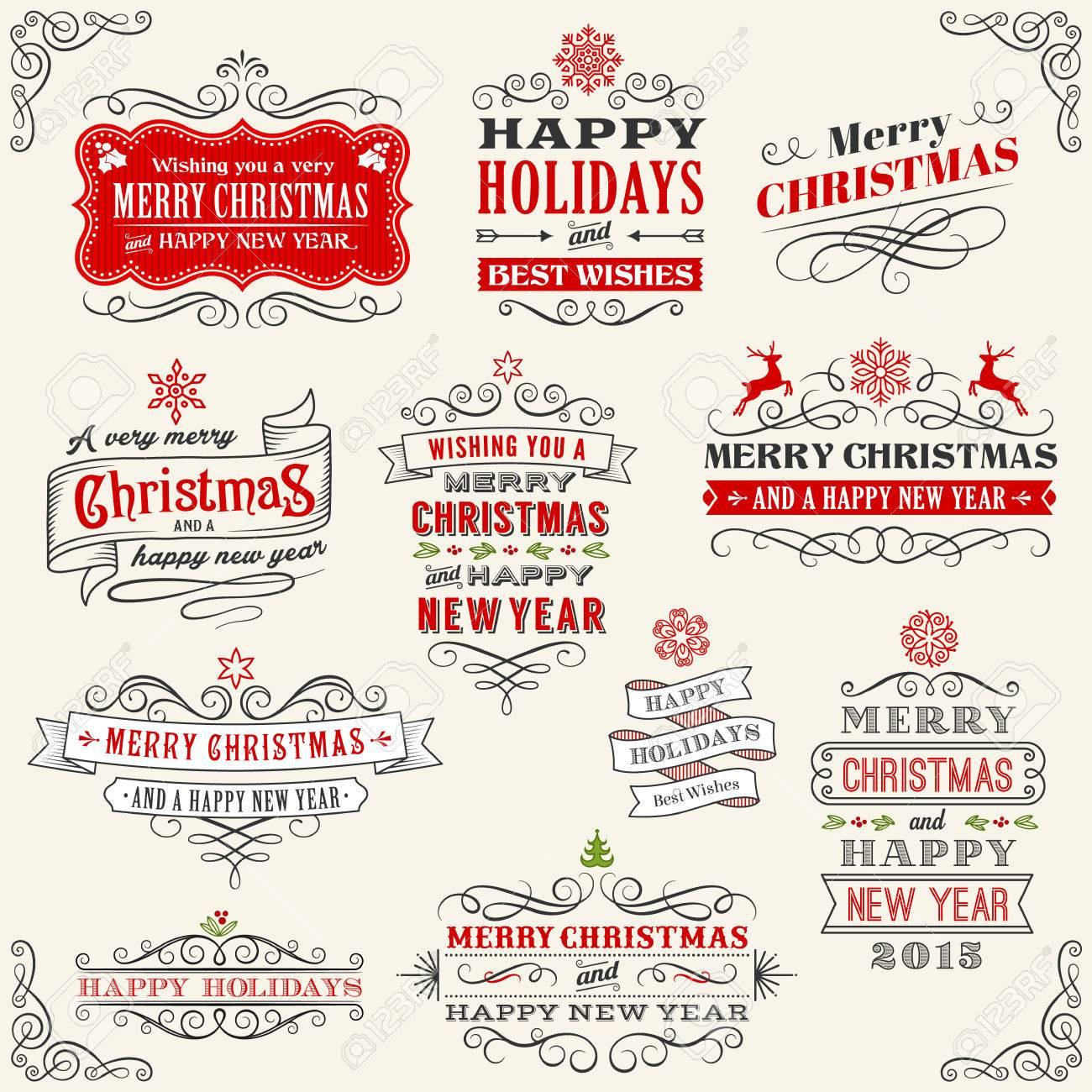 Frohe Weihnachten Etiketten.Stock Photo