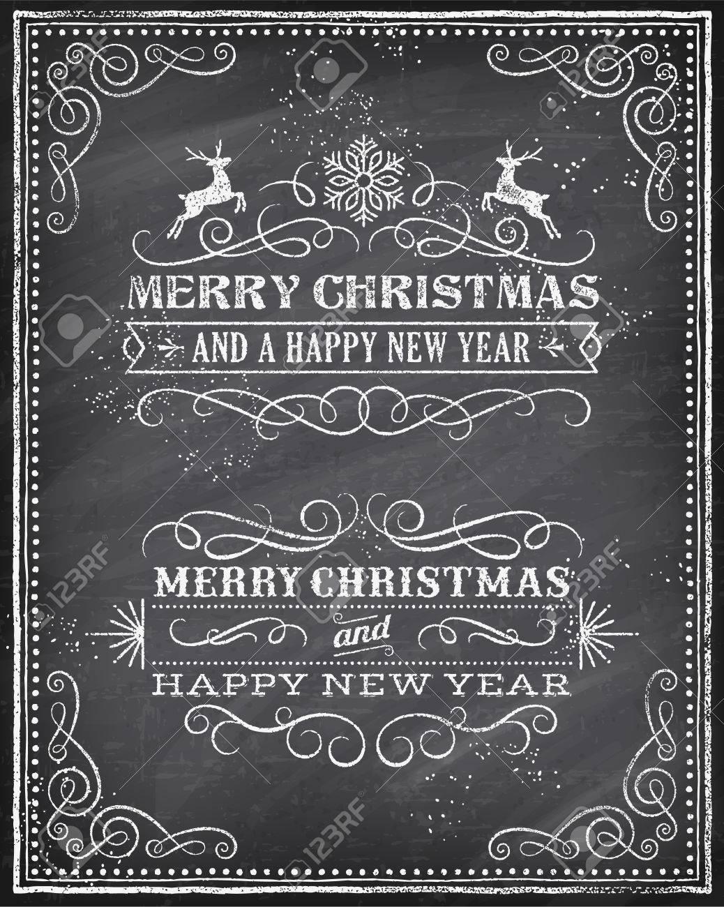 Vektor-Weihnachtsgruß-Karte Mit Kreide Gezeichnet \