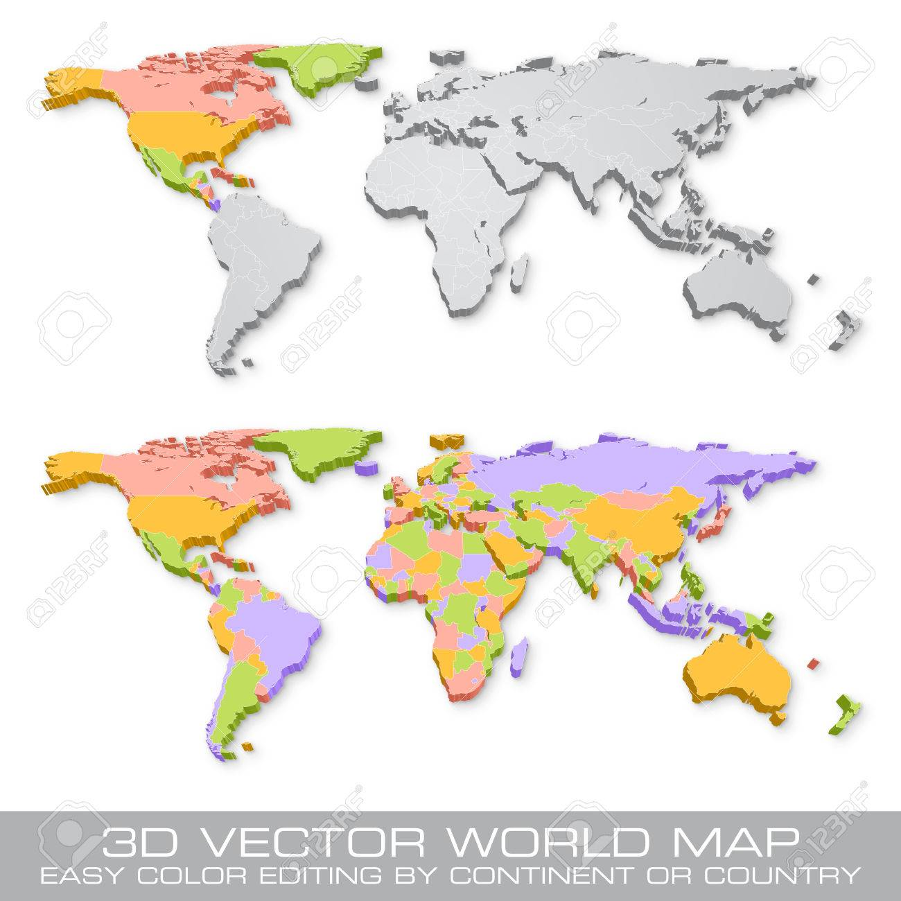 High detail vector political world map illustration with 3d shadow high detail vector political world map illustration with 3d shadow effect cleverly organized with layers gumiabroncs Images