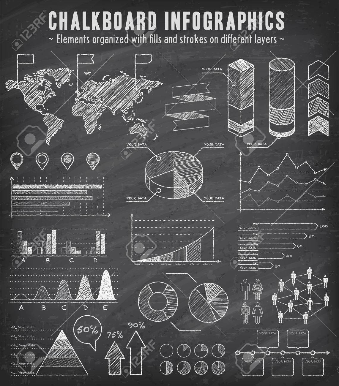 A Comprehensive Template Set For Infographics With A Sketchy ...