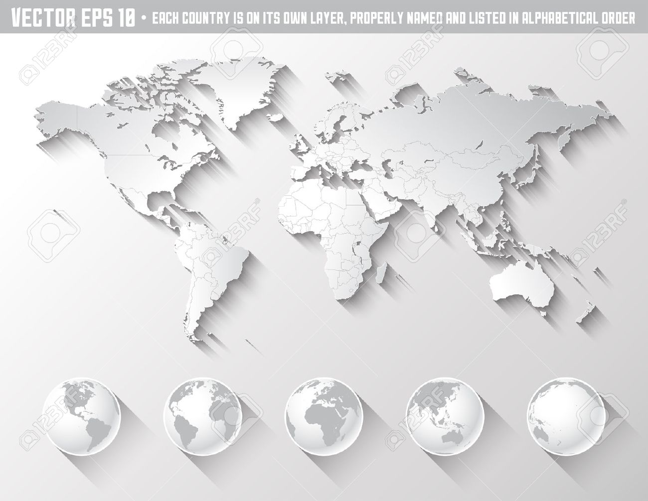 an high quality world map in tones of grey with a cool flat shaded shadow