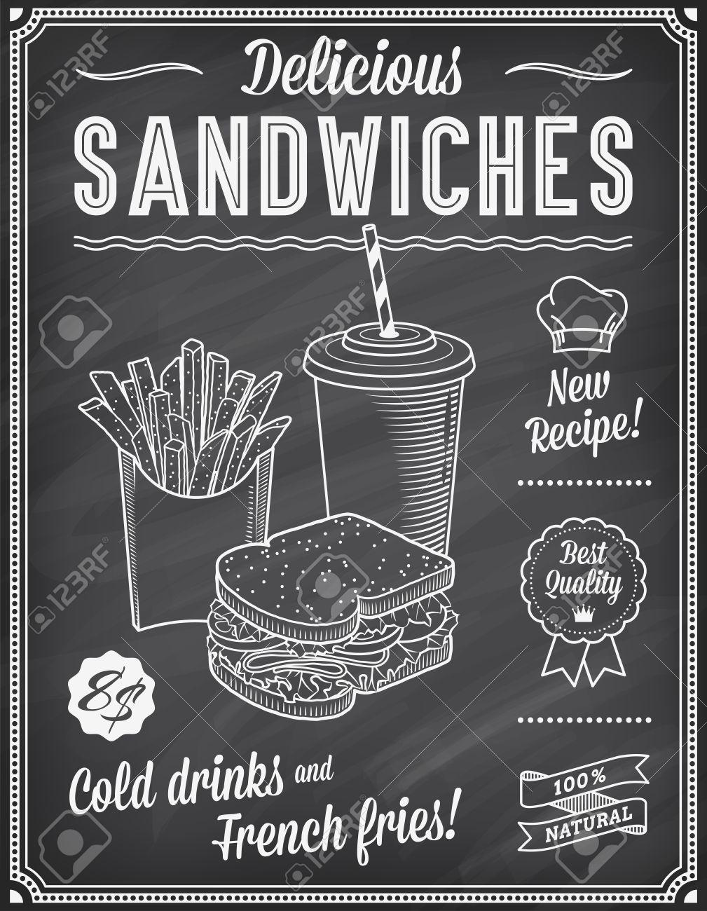 A Grunge Chalkboard Fast Food Menu Template, With Elegant Text ...