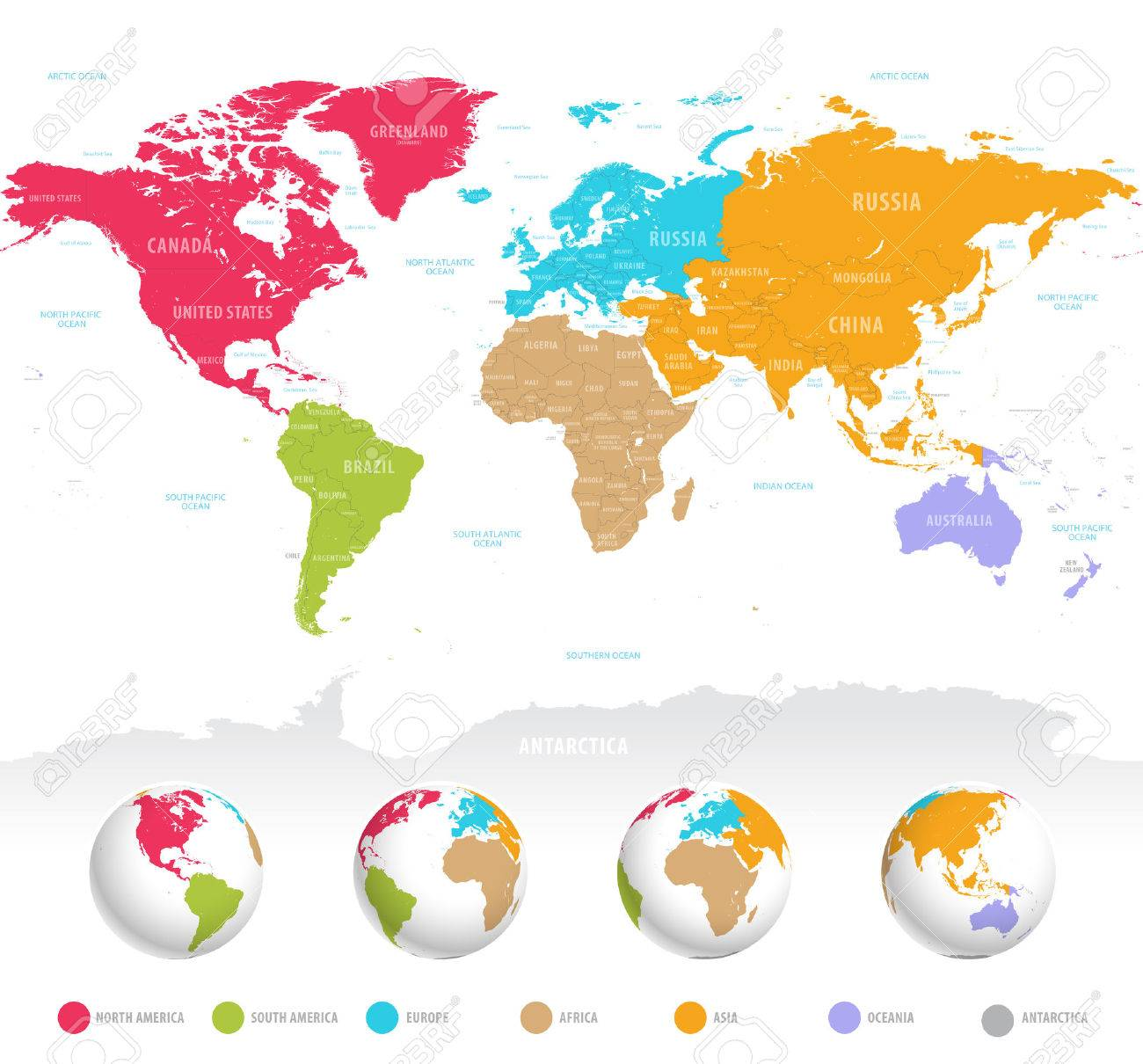 High detail vector colorful map of the world with political high detail vector colorful map of the world with political boundaries country names and 3d gumiabroncs Image collections