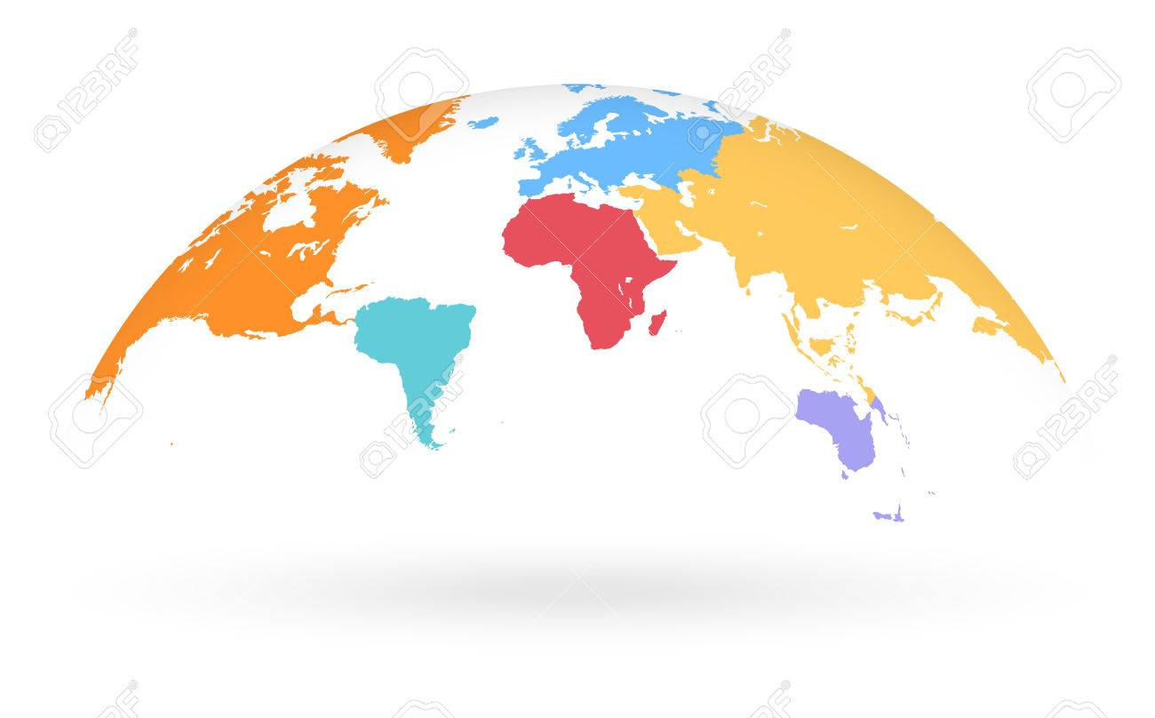 Detailed colored world map with different colors for each continent detailed colored world map with different colors for each continent mapped on an open gumiabroncs Gallery