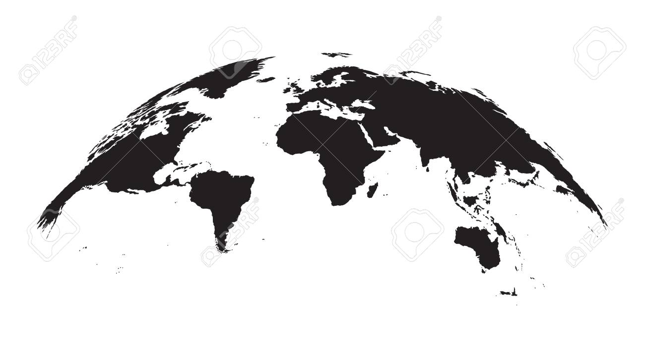 Dark Grey World Map, On A Wide Globe, Isolated On White Background ...