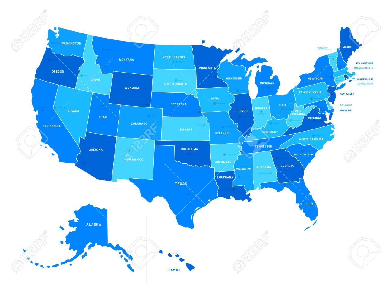 Blank USA map isolated on white background. United States of..