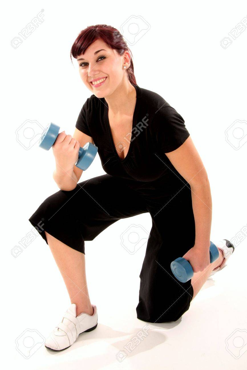 Pretty exercise woman with weights in hands Stock Photo - 5070473