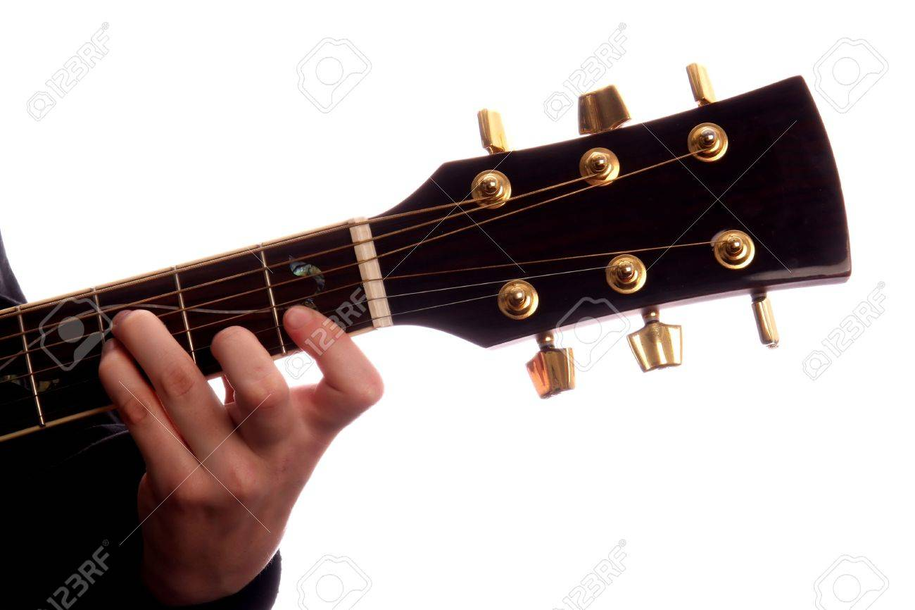 Acoustic Guitar With Person S Fingers Playing E Major Chord Stock