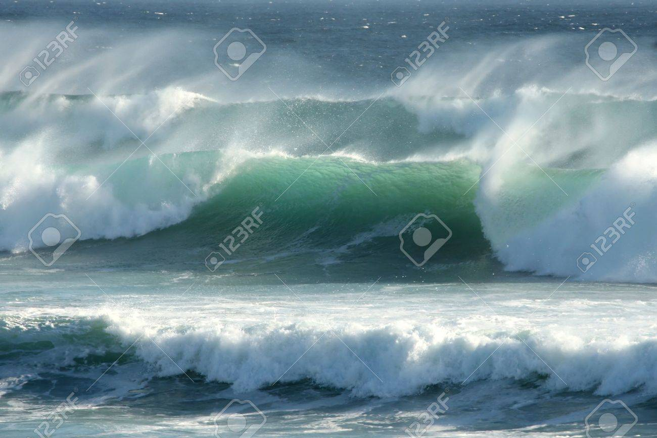 Rough windswept waves off the South African shore Stock Photo - 8647503