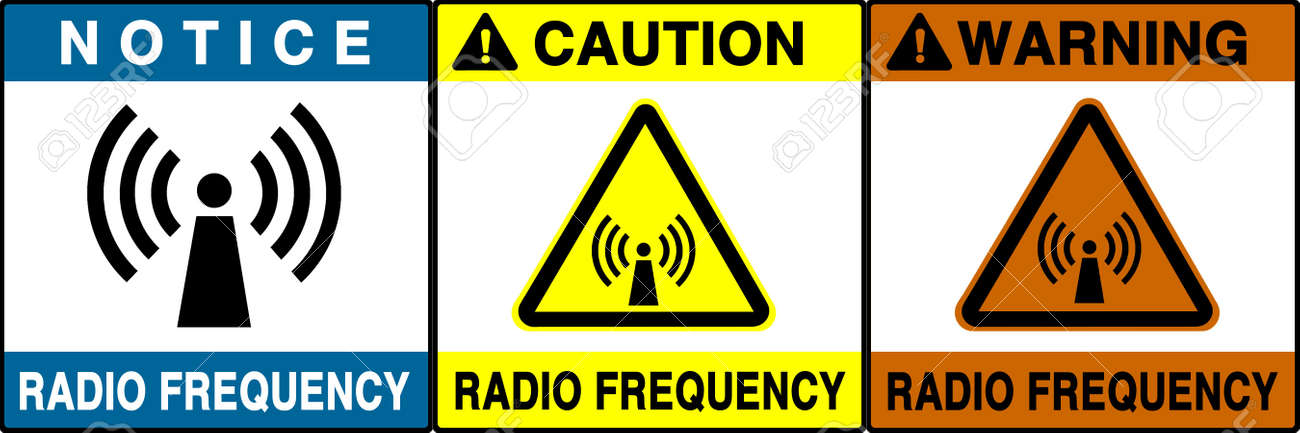 Radio frequency warning series. Three different notice/caution/warning signs. Made with PS, big size, high RES & quality. Stock Photo - 240008