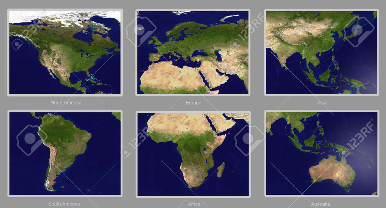 Real Looking Earth Map Six Continents Please Note This Map