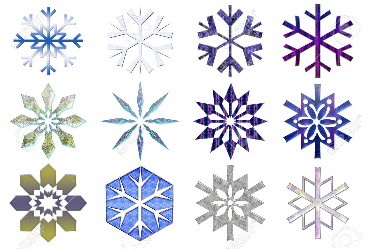 Snowflakes collection #3. Isolated Stock Photo - 259308