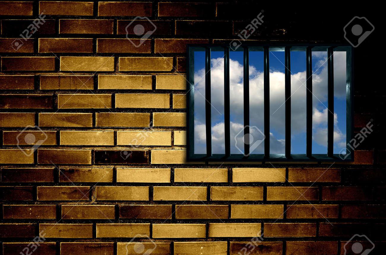 Latticed prison window, clear sky beyond Stock Photo - 366161