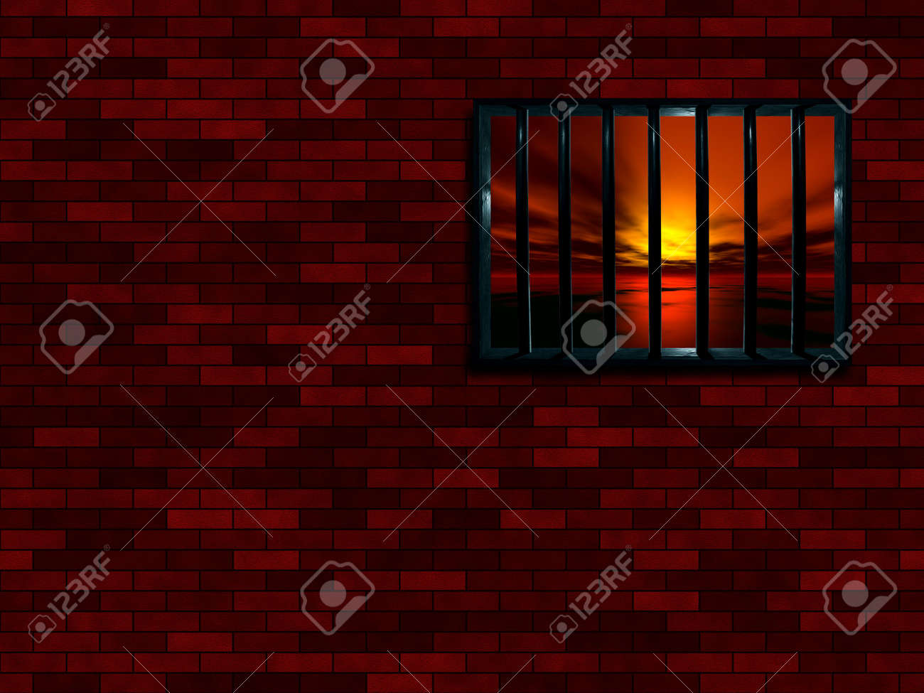Latticed prison window, sunset beyond Stock Photo - 366148