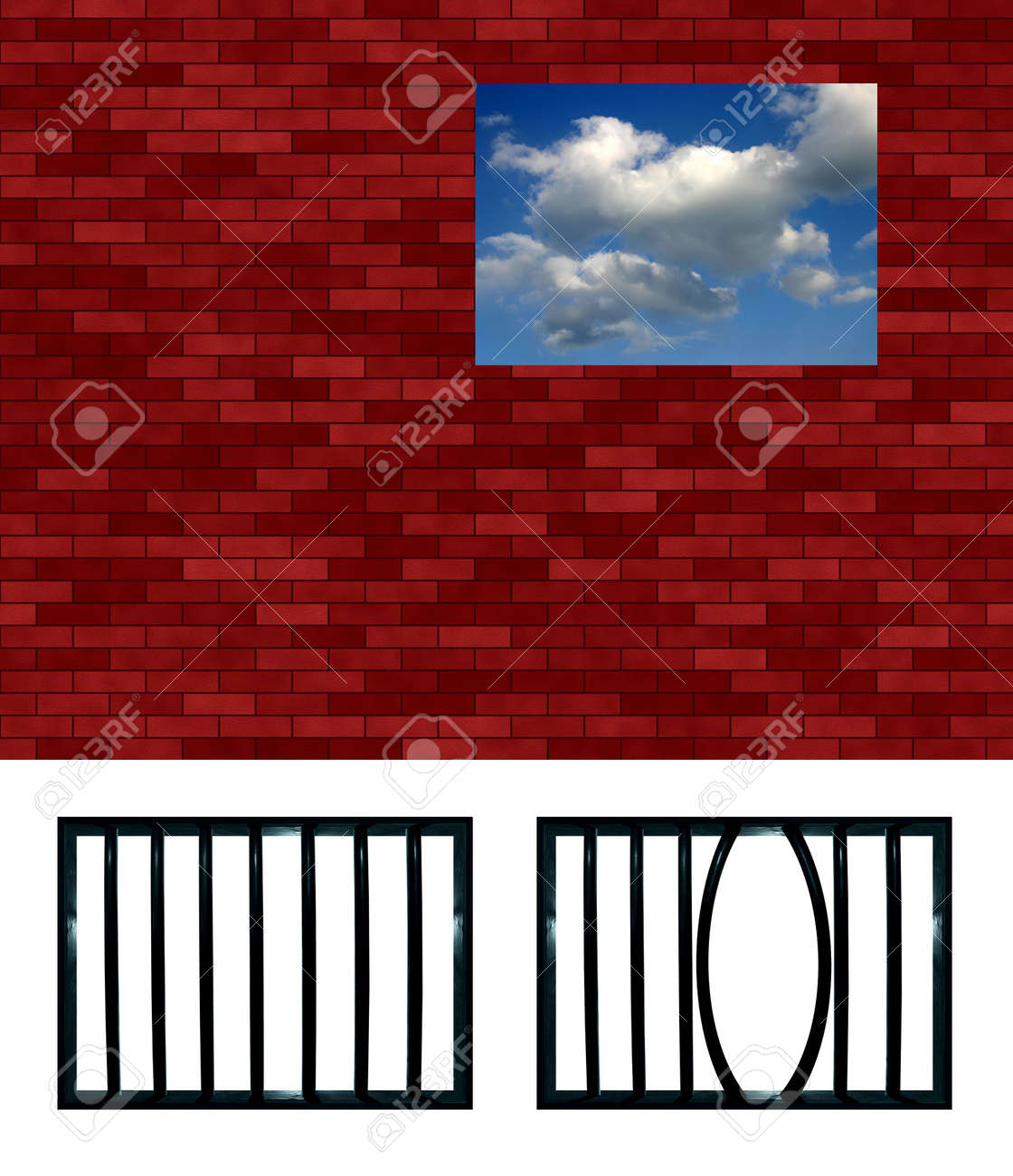 Latticed prison window pattern. Choose your grating, crop and put in the hole Stock Photo - 366144