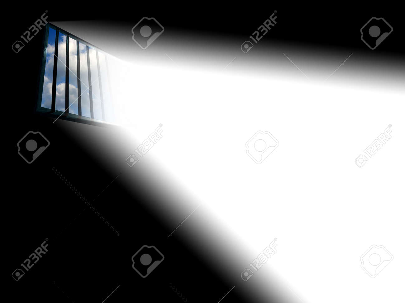 Light through the latticed prison window Stock Photo - 366138