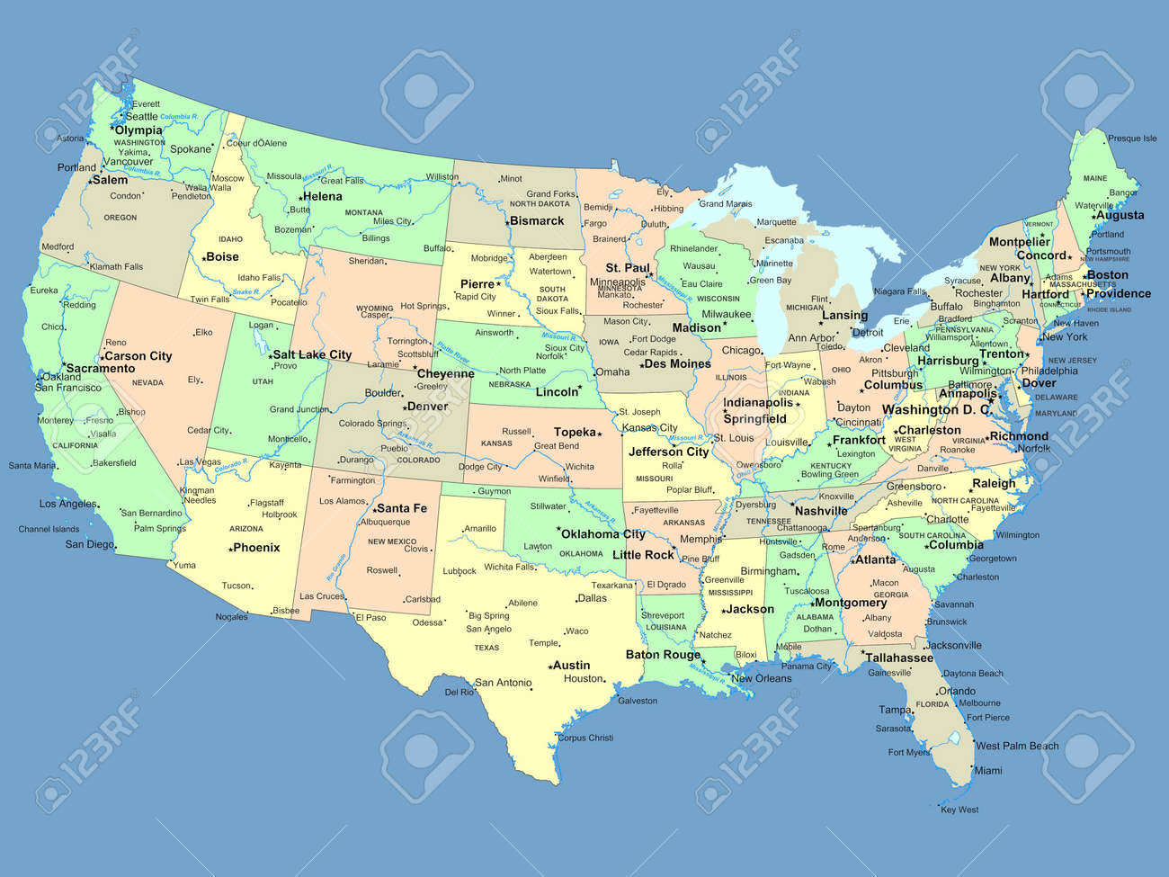 Colorful Usa Map States Capital Cities Stock Vector - Map us with rivers