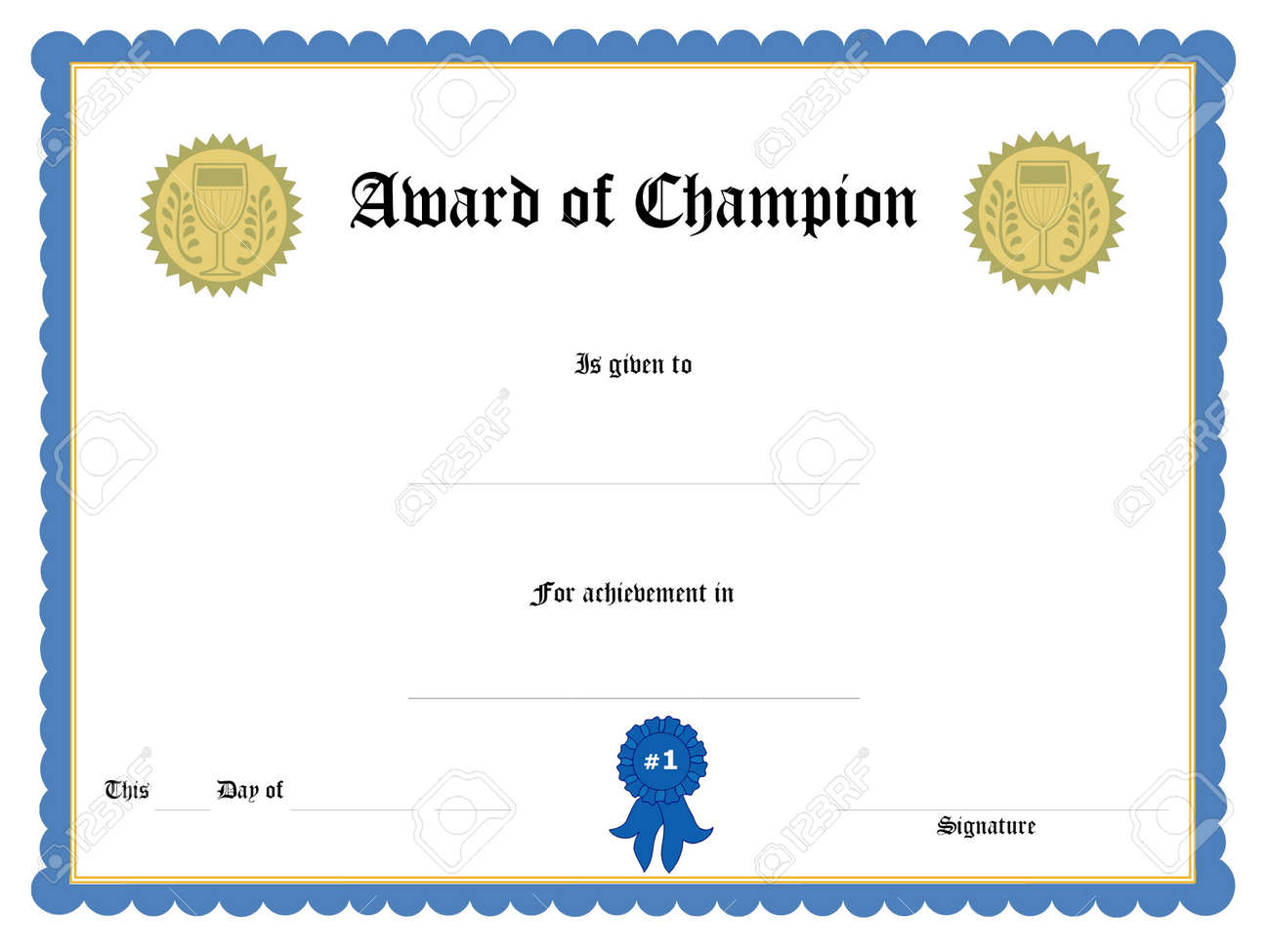 Blank Award Certificate Form Photo Picture And Royalty Free – Blank Certificate Forms