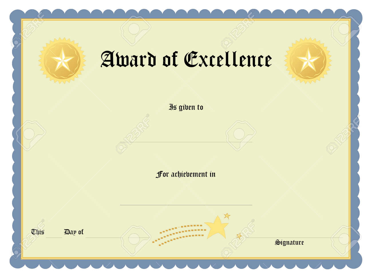 blank award certificate form stock photo picture and royalty free