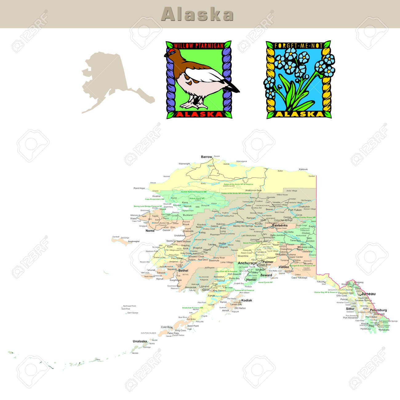 Political Map Of Alaska.Usa States Series Alaska Political Map With Counties Roads