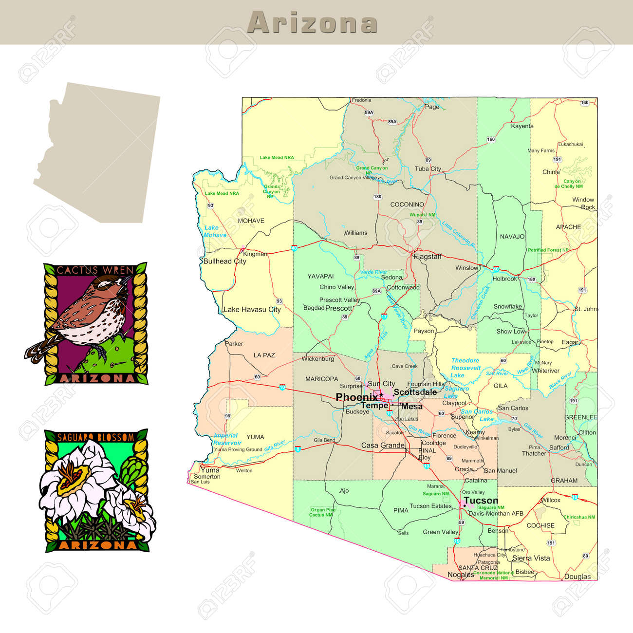 Usa States Series Arizona Political Map With Counties Roads