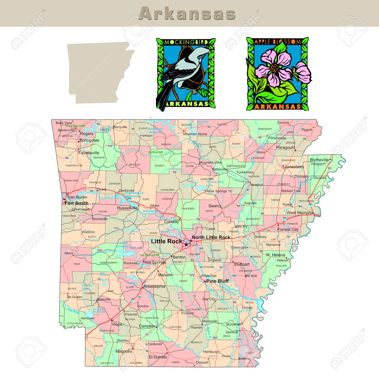 USA States Series Arkansas Political Map With Counties Roads - Usa map counties