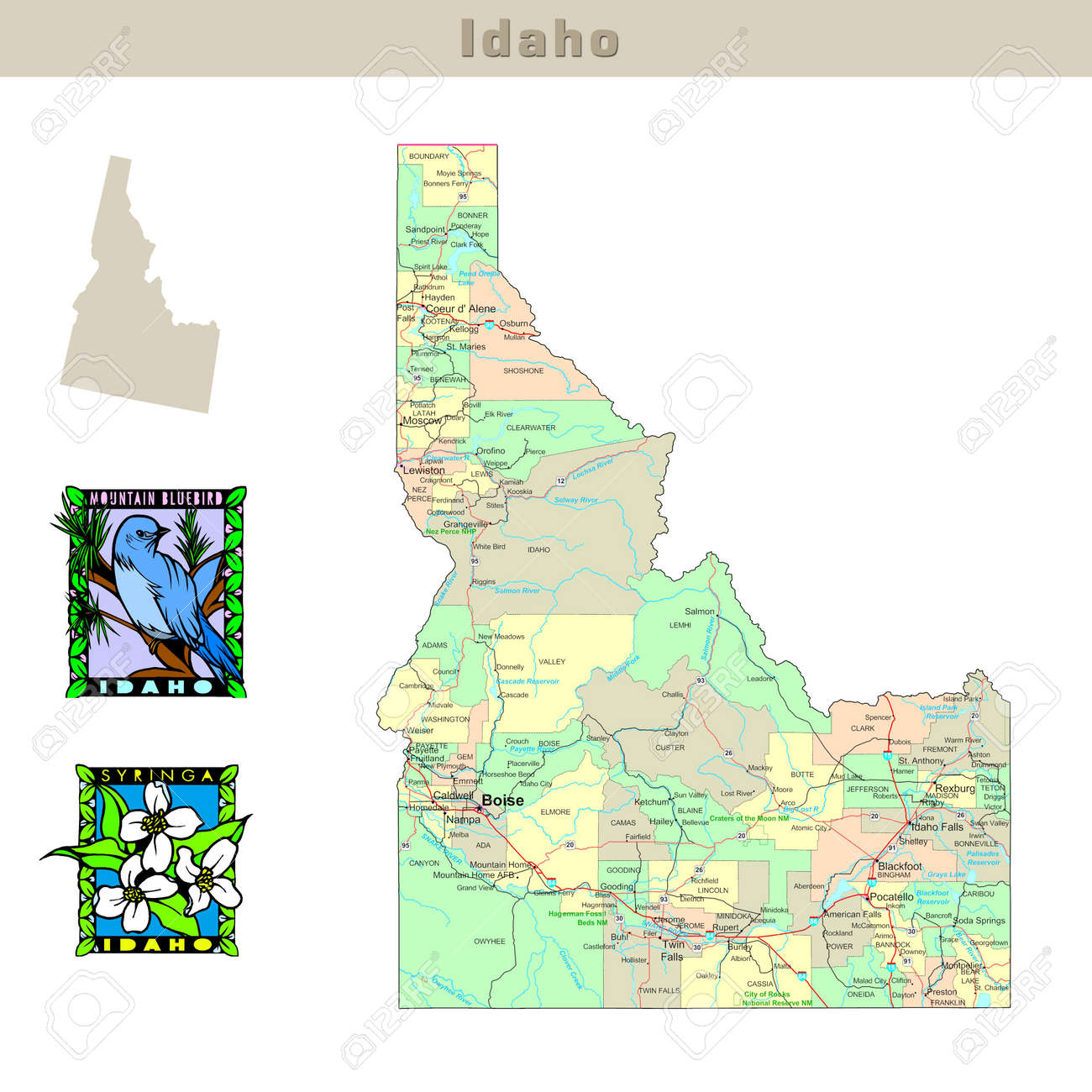 USA States Series Idaho Political Map With Counties Roads - Idaho political map