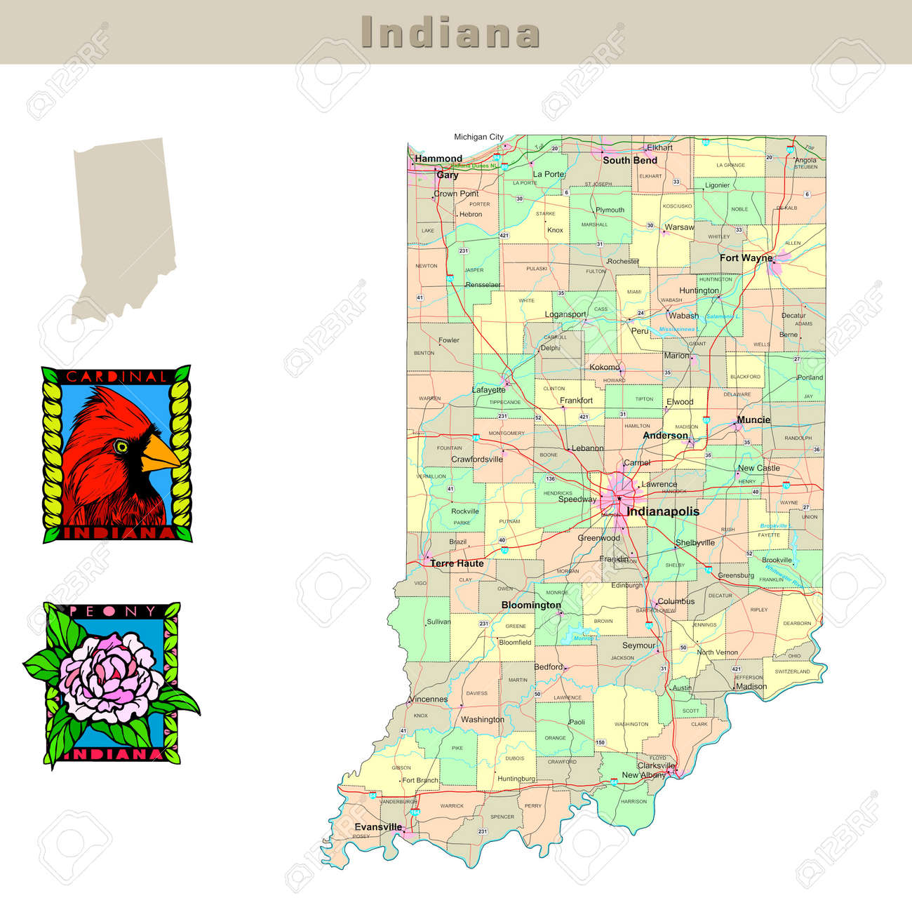 USA States Series Indiana Political Map With Counties Roads - Indiana on a map of the usa