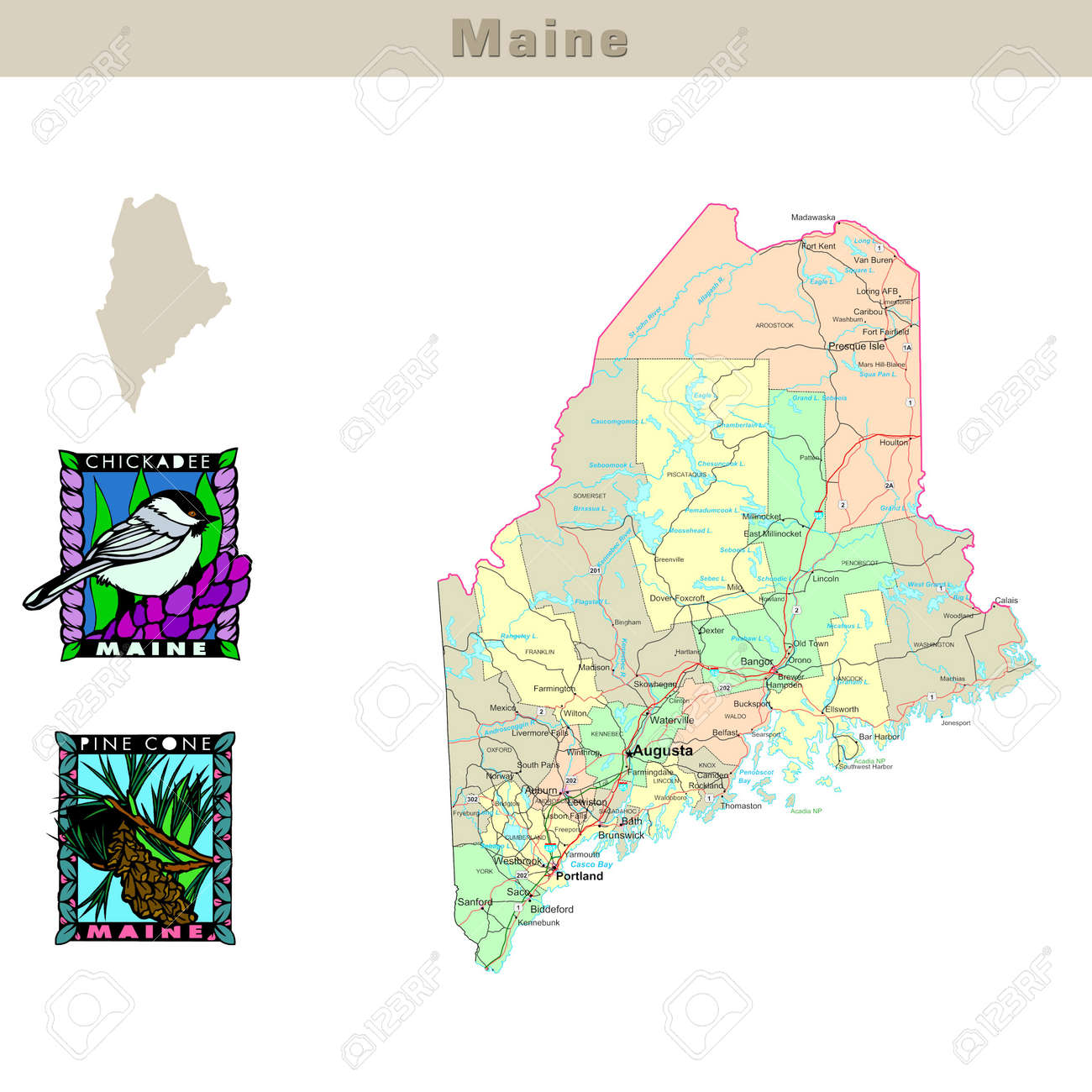 Usa States Series Maine Political Map With Counties Roads