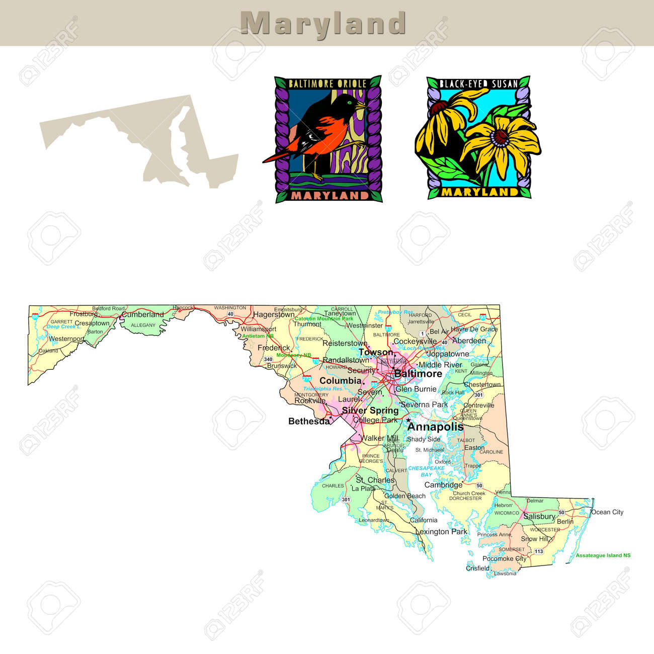 USA States Series Maryland Political Map With Counties Roads