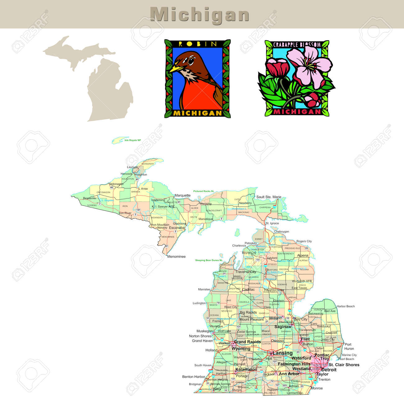 USA States Series Michigan Political Map With Counties Roads - Michigan map with counties