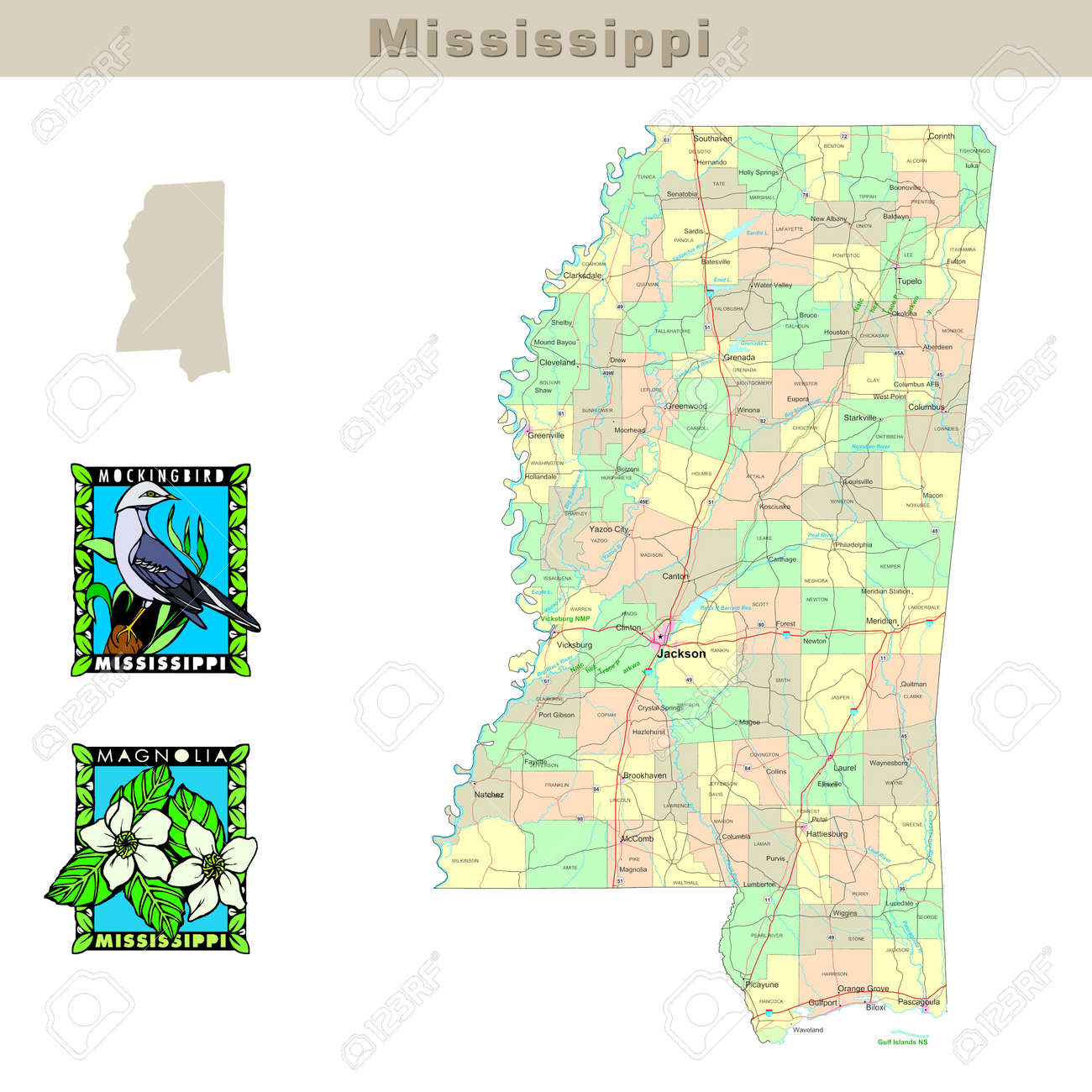 Usa States Series Mississippi Political Map With Counties Stock Photo Picture And Royalty Free Image Image 1565642