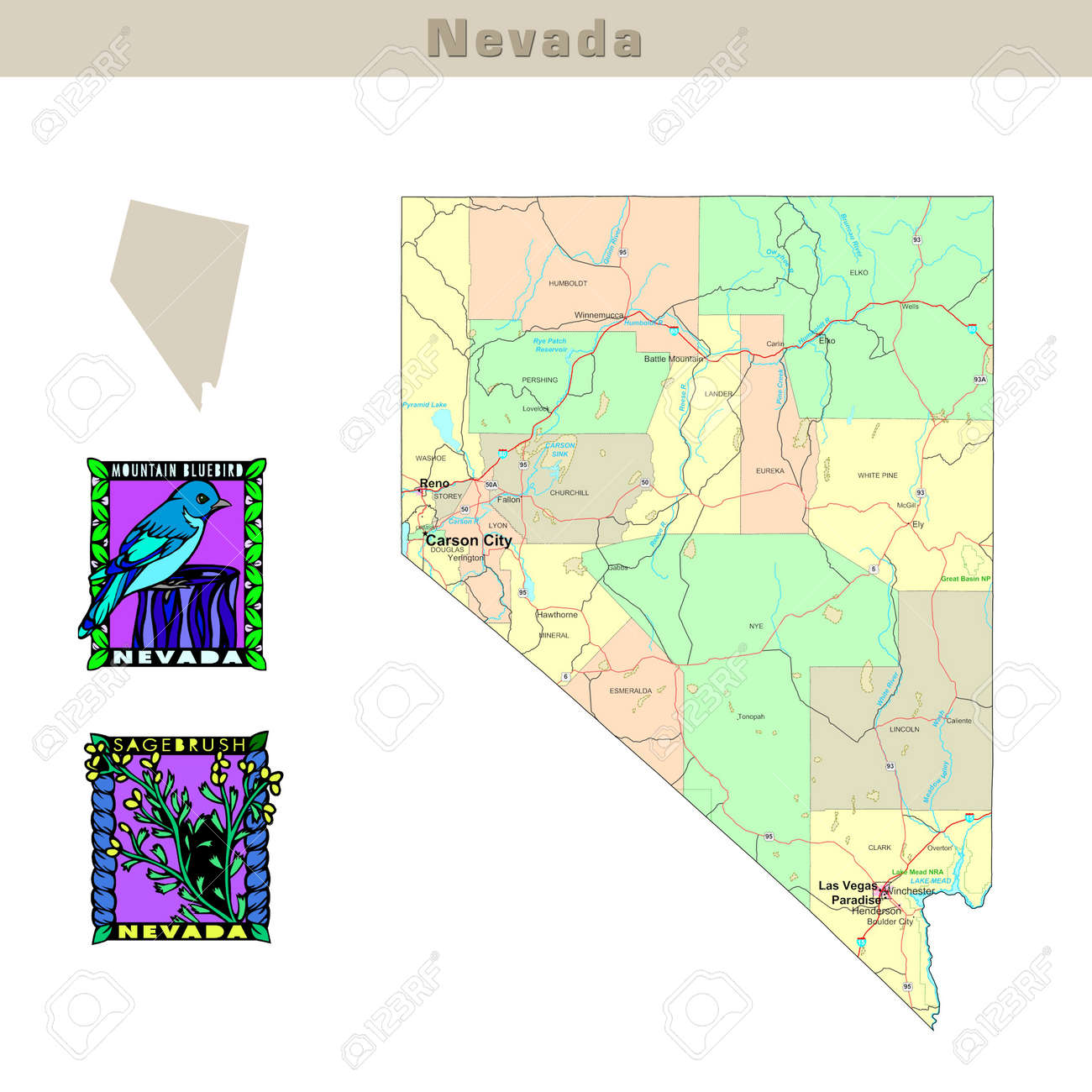 Political Map Of Nevada.Usa States Series Nevada Political Map With Counties Roads