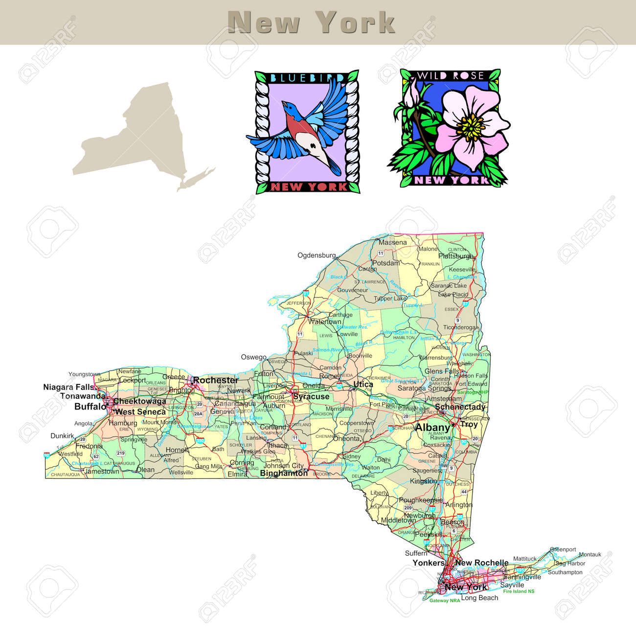 Usa States Series New York Political Map With Counties Roads