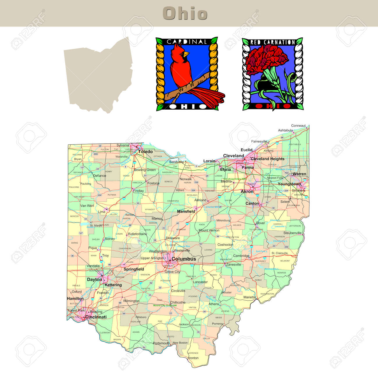 USA States Series Ohio Political Map With Counties Roads – Map Usa Ohio