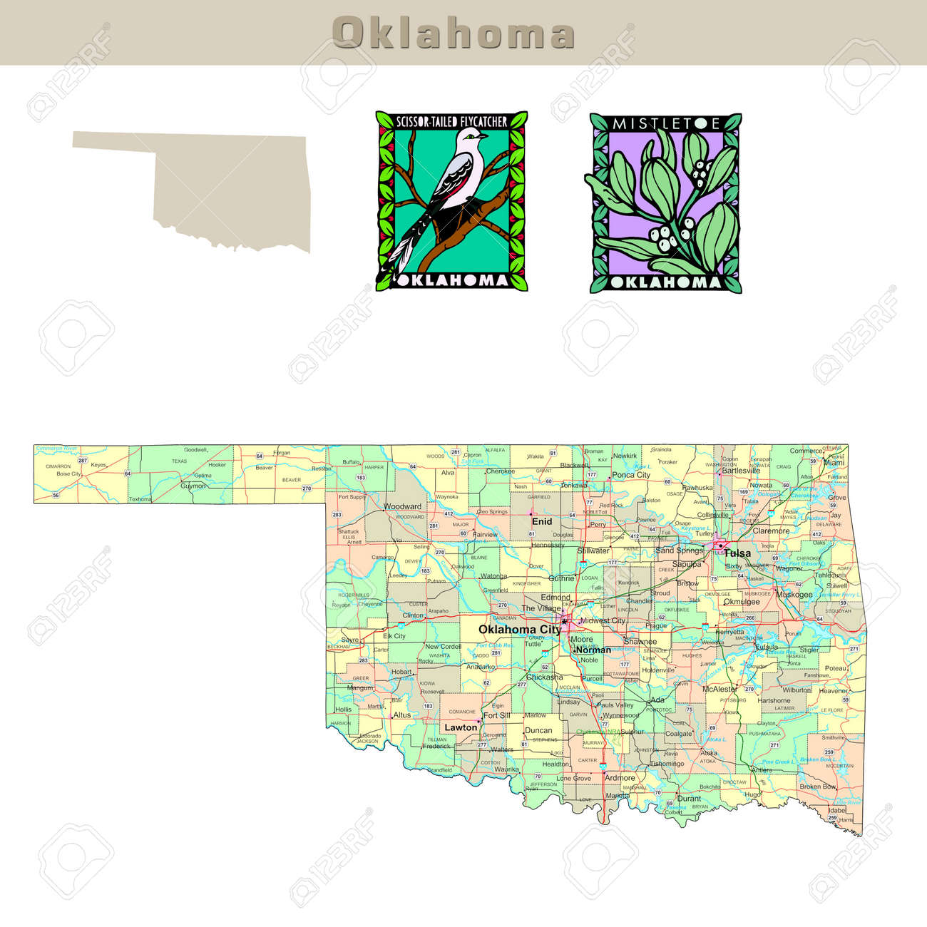 Usa States Series Oklahoma Political Map With Counties Roads