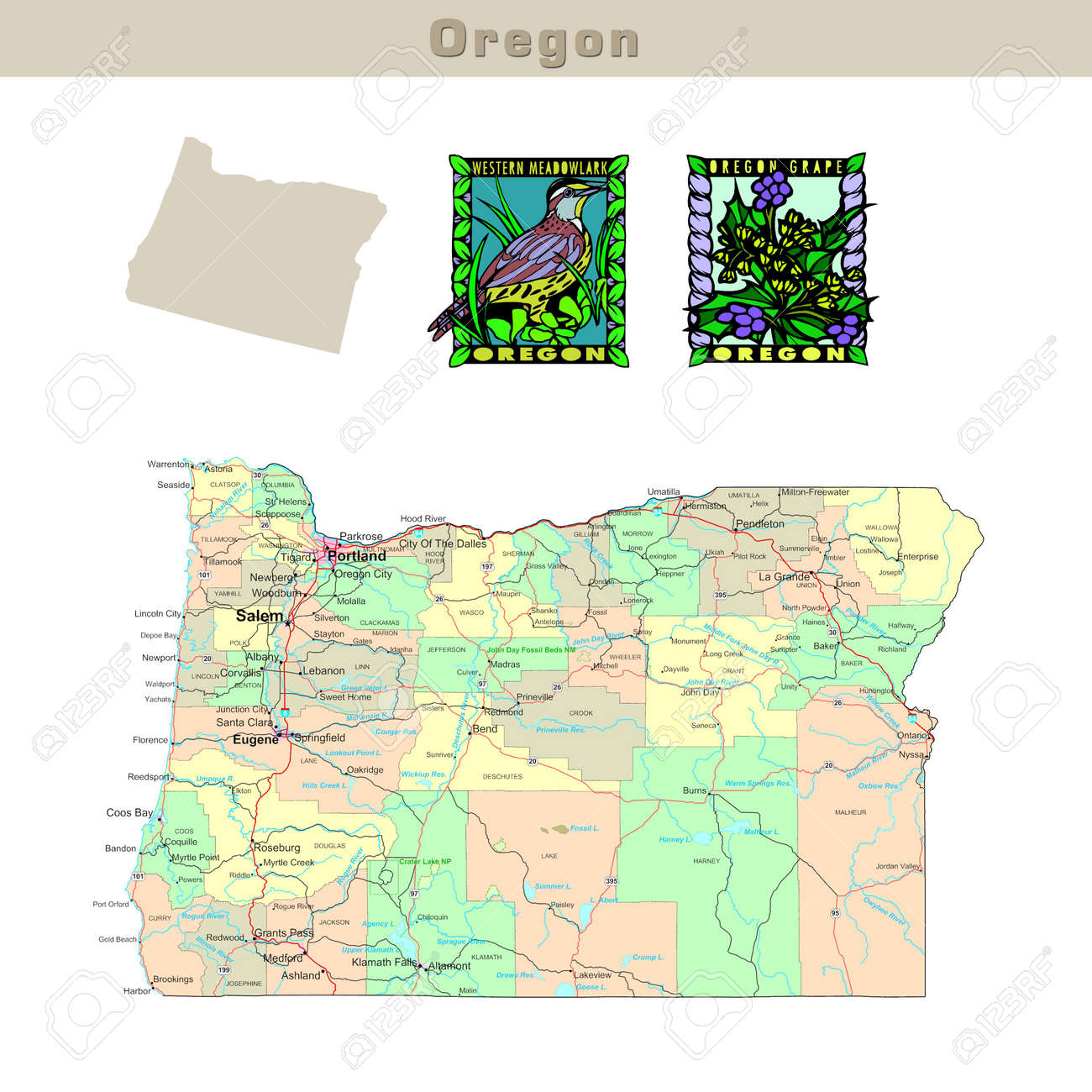 USA States Series Oregon Political Map With Counties Roads - Map of oregon state usa